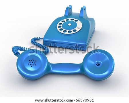 Old-fashioned disk phone on white isolated background. 3d - stock photo
