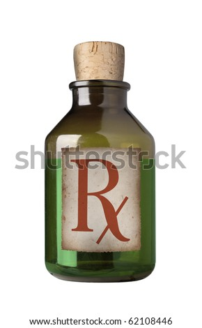 Old fashioned drug bottle with label, isolated.