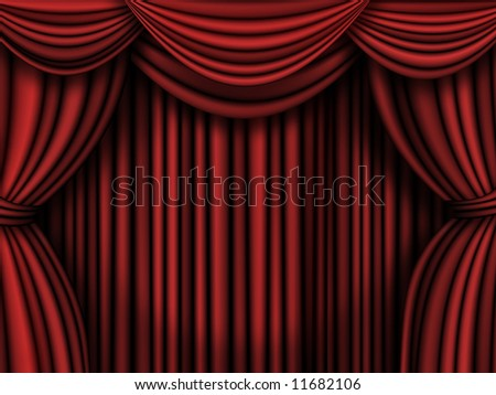 Old fashioned, elegant theater  curtains. - stock photo