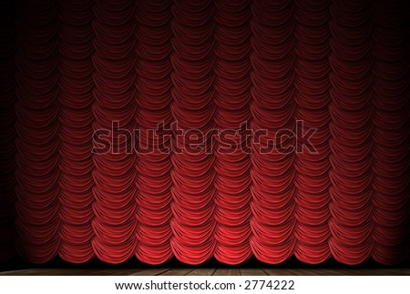 Old fashioned, elegant theater stage with velvet curtains and spotlight. - stock photo