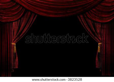 Old fashioned, elegant theater stage with velvet curtains made to be Grungy - stock photo