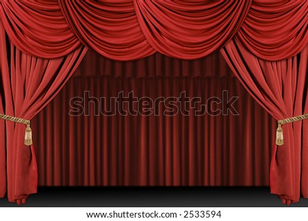 Old fashioned, elegant theater stage with velvet curtains with Tassles - stock photo