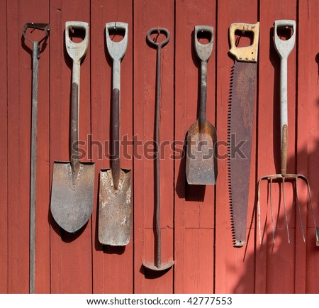 Old fashioned farm tools