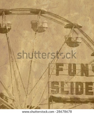 Old fashioned ferris wheel at carnival with grunge overlay - stock photo