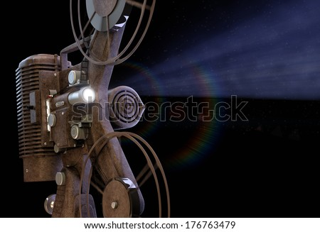 Old fashioned Film Projector - stock photo