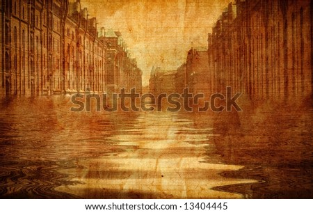Old fashioned flooded street - stock photo