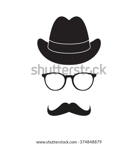 Old fashioned gentleman accessories icons set: hat, glasses and mustache. Retro hipster style.  - stock photo