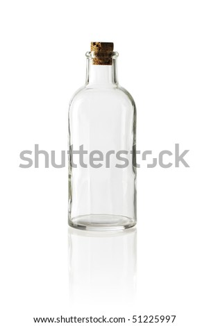 Old fashioned glass bottle with cork stopper. - stock photo