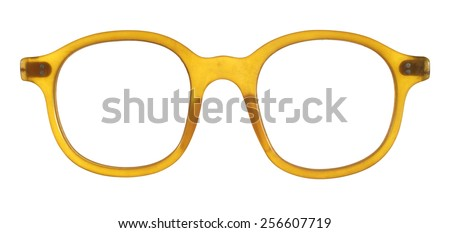 Old-fashioned glasses frame of plastic isolated on white background.         - stock photo