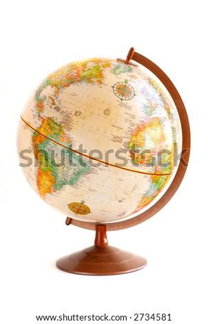 Old fashioned globe isolated on white background - stock photo