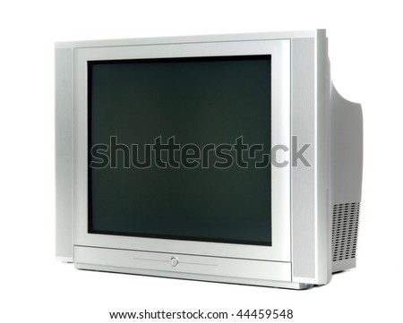 old fashioned grey television isolated at white background - stock photo