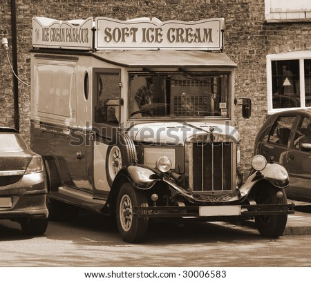 Old-fashioned ice cream truck in Cambridgeshire, England