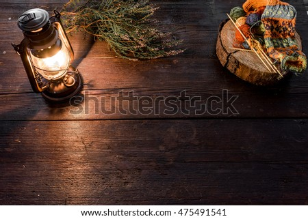 Oldfashioned Kerosene Lamp Bright Fairisle Knitting Stock Photo ...