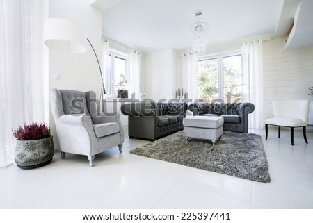 Old fashioned lather sofa in luxury drawing room - stock photo