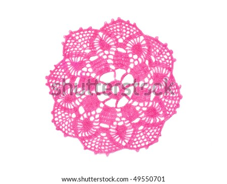 Old-fashioned little pink crocheted doily isolated in white. - stock photo
