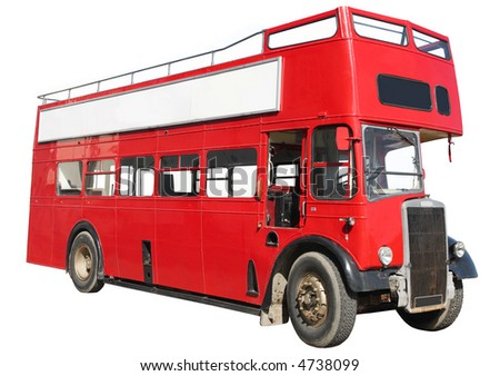 Old fashioned London red double-decker sightseeing open top bus, isolated on a white background. - stock photo