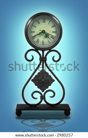 Old fashioned looking clock against a colorful background - stock photo