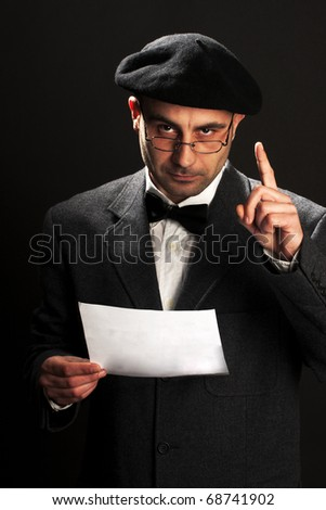 old fashioned man practicing speech - stock photo