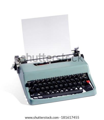 Old fashioned manual typewriter with a sheet of blank paper in the carriage with copy space for your text , high angle view isolated on white