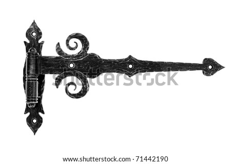 Old fashioned metal hinge isolated on white background. - stock photo