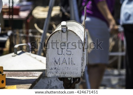 metal mailbox flag. Old Fashioned Metal Mailbox With The Flag Up. T