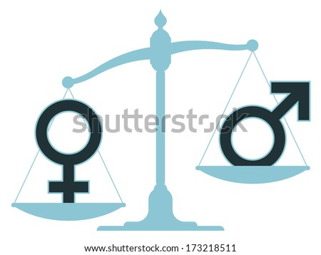 Old-fashioned pan scale with male and female icons showing an inequality between the sexes with the male carrying the most weight as the balance rests in an unbalanced position - stock photo