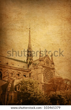 old-fashioned paris france - beautiful view Notre Dame Cathedral in paris france (French for Our Lady of Paris) - stock photo