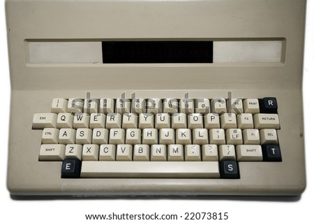 Old-fashioned personal computer 80's style - stock photo