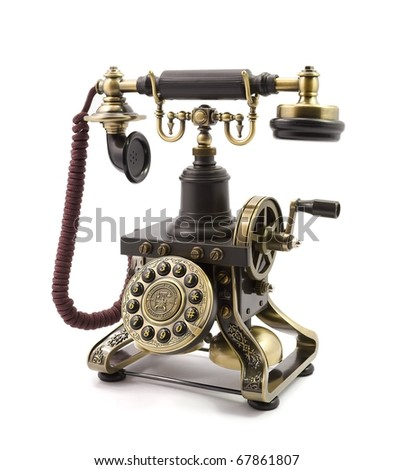 Old fashioned phone isolated