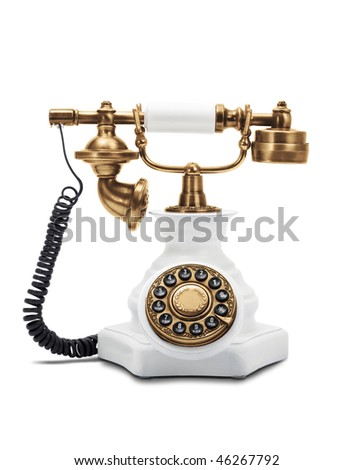 Old fashioned phone isolated on white background - stock photo