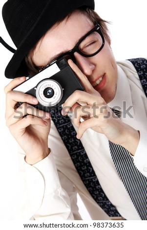 Old fashioned photographer over white background - stock photo