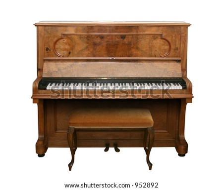 Old fashioned piano isolated on white with clipping path - stock photo