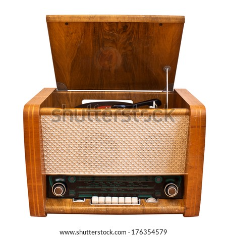 Old-fashioned  player. Open radiogramophone. Isolated on white background - stock photo
