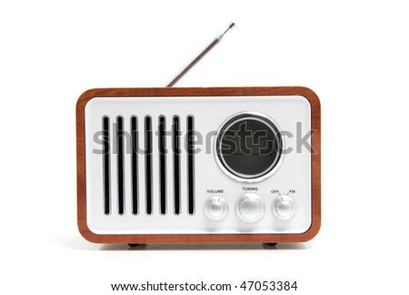 Old fashioned radio isolated on white background - stock photo