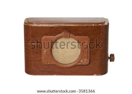 Old fashioned radio set over white 4 - stock photo