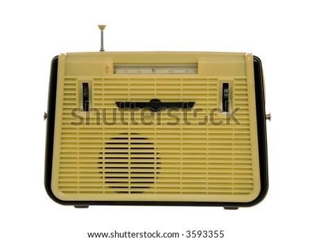 Old fashioned radio set over white 2 - stock photo