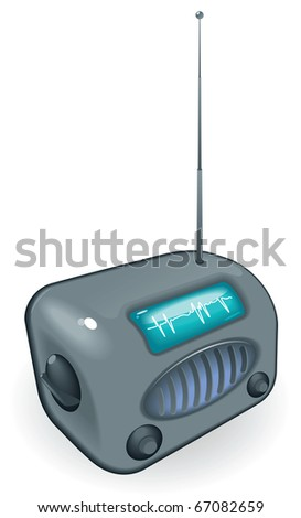 Old-fashioned radio with antenna. Raster version. For vector version of this image, see my portfolio. - stock photo