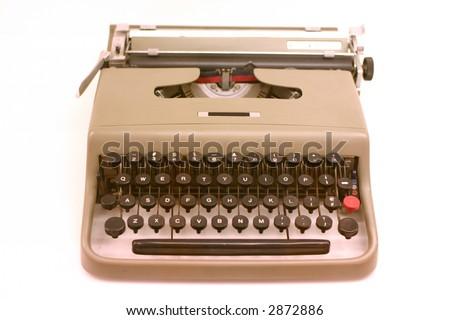 old fashioned retro typewriter on white ground - stock photo