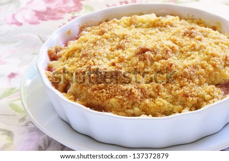 Old fashioned rhubarb crumble in white dish - stock photo