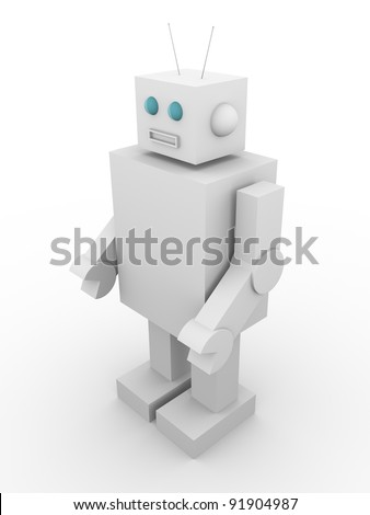 Old fashioned robot. Tin machine. Concept of technology. - stock photo