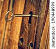 old-fashioned skeleton key in an old door - stock photo