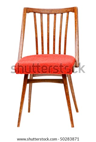 old fashioned stool with red cloth seat covering isolated on white
