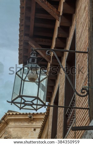 Old-fashioned street lamp against the sky. Palma de Mallorca. Majorca. Spain - stock photo