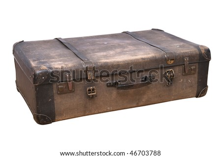 old fashioned suitcase isolated on white - stock photo