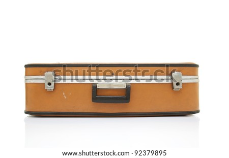 Old fashioned suitcase on isolated white background with reflection - stock photo
