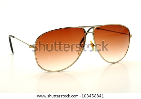 old fashioned sun glasses isolated on a white background