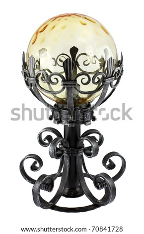 Old fashioned table lamp isolated on white background. Intentional shallow depth of field. Studio work. - stock photo