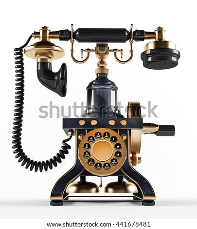 Old- fashioned telephone. 3D illustration