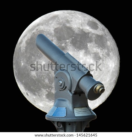 old fashioned telescope looking at the full moon