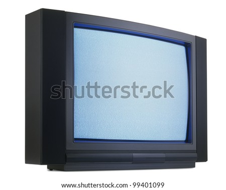 Old fashioned television isolated with clipping path - stock photo
